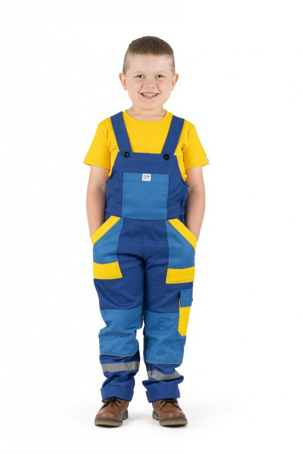 Detské montérky s trakmi tmavomodré, s modrými a žltými vreckami (9813)