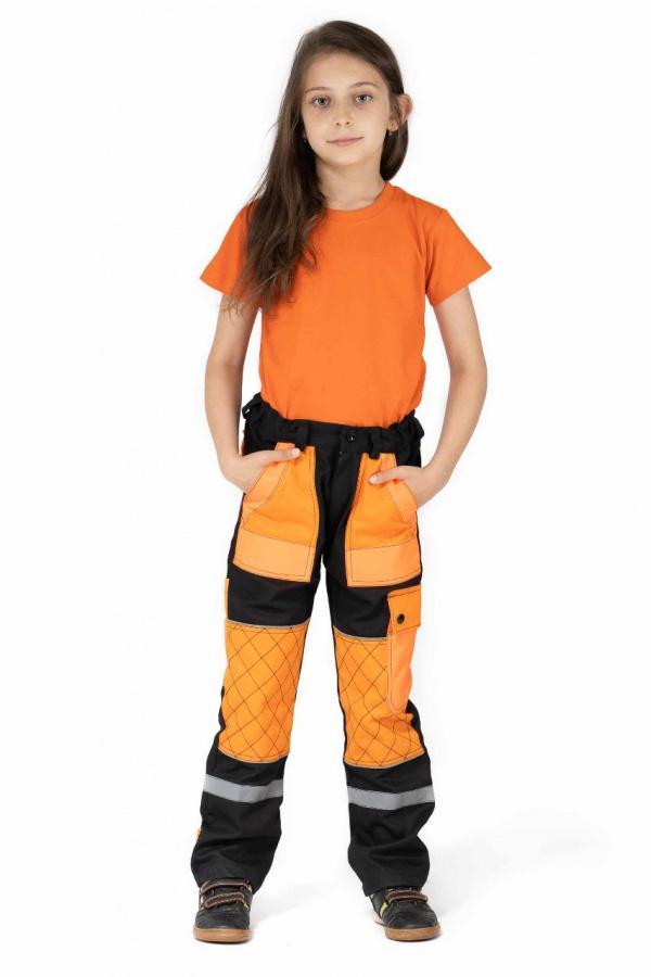 Detské montérky bez trakov čierne, s oranžovými vreckami (9702)