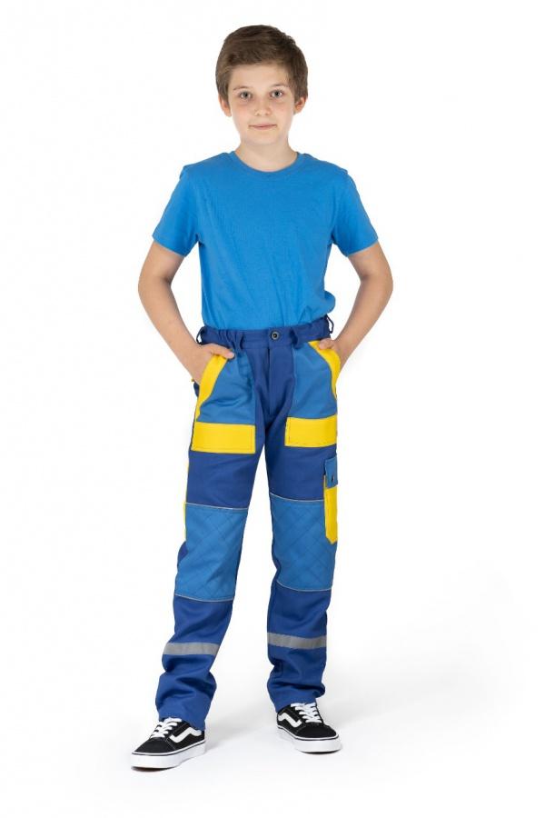 Detské montérky bez trakov modré, s modrými a žltými vreckami (9713)