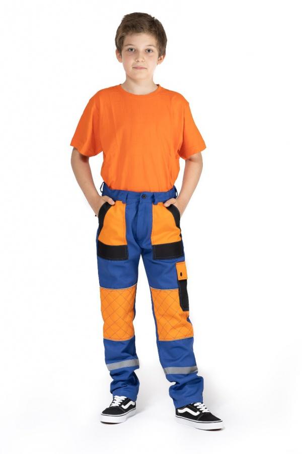 Detské montérky bez trakov modré, s oranžovými a čiernymi vreckami (9711)