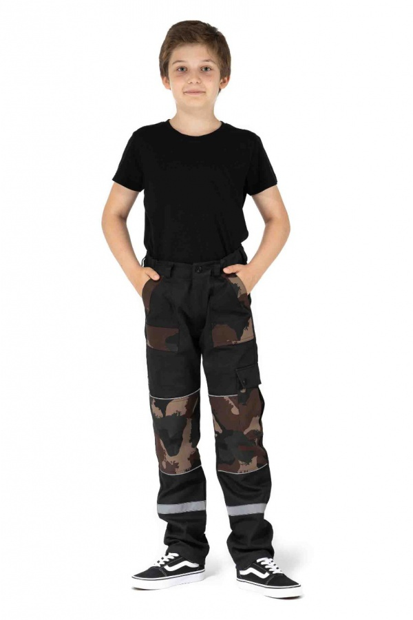 Detské montérky bez trakov čierne, s maskáčovými vreckami (9704)