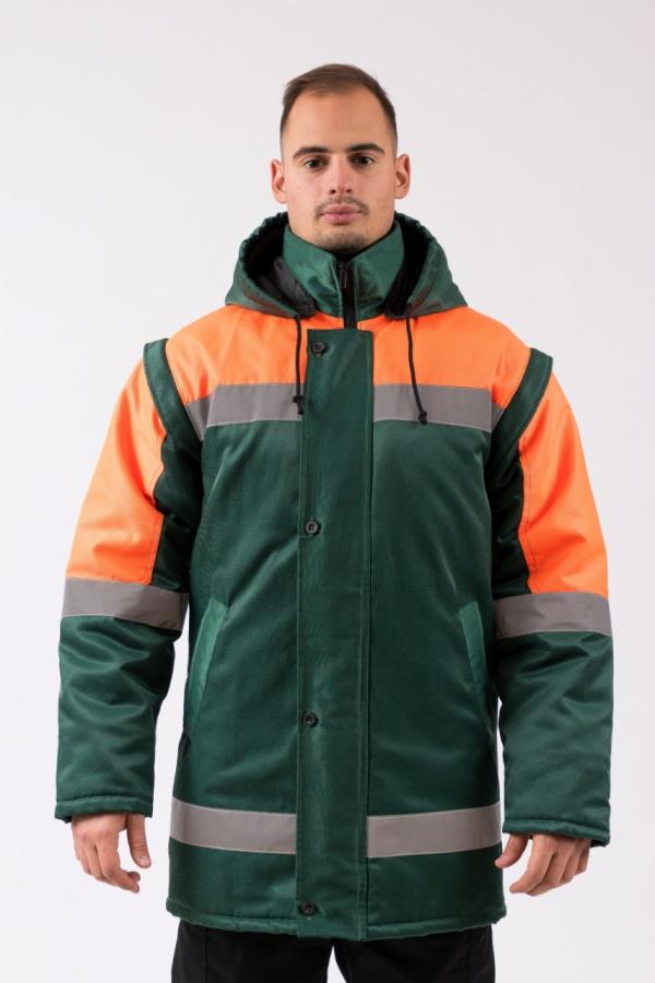 Zimný kabát so zvýšenou viditeľnosťou