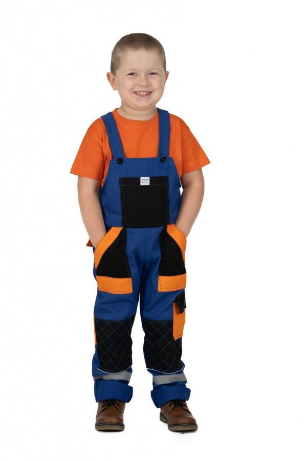 Detské montérky s trakmi modré, s čiernymi a oranžovými vreckami (9806)