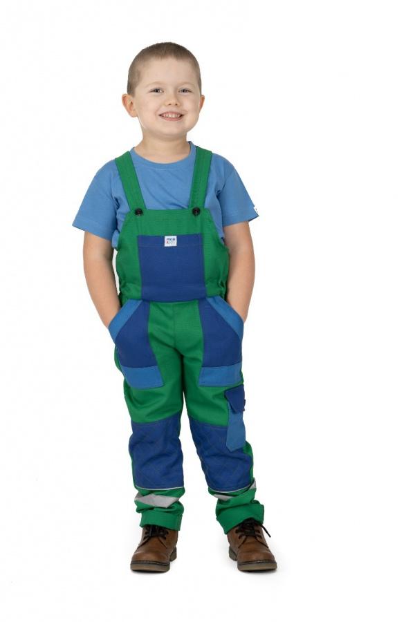 Detské montérky s trakmi zelené, s modrými vreckami (9808)
