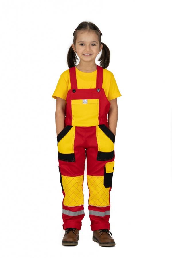Detské montérky s trakmi červené, so žltými a čiernymi vreckami (9809)