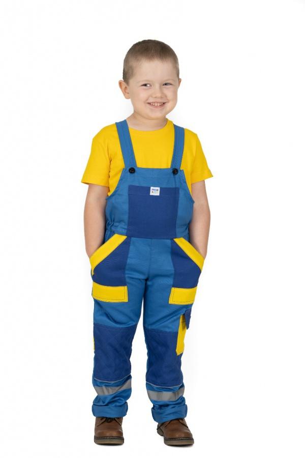 Detské montérky s trakmi bledomodré, s modrými a žltými vreckami (9810)
