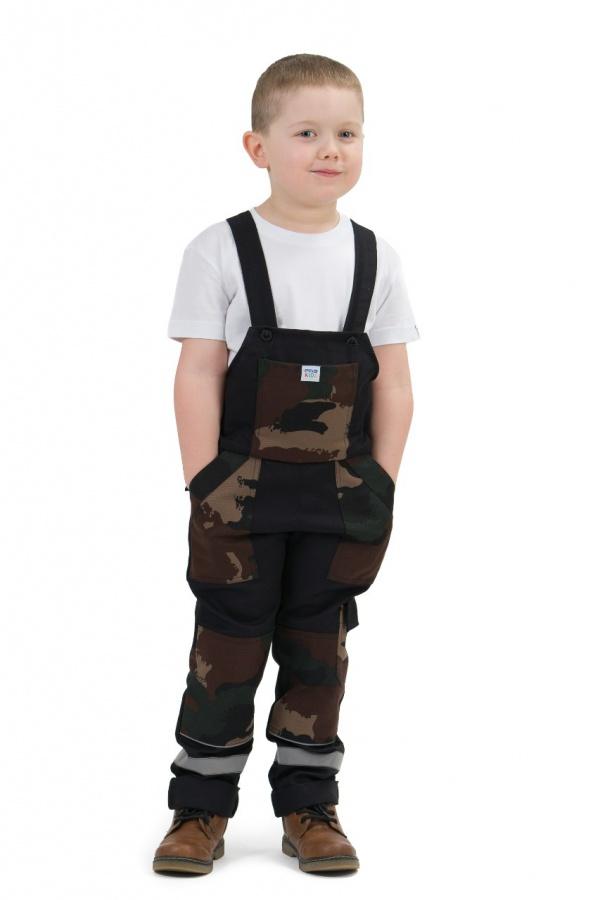 Detské montérky s trakmi čierne, s maskáčovými vreckami (9804)